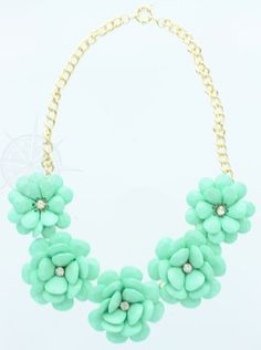 Light Mint - This necklace features 5 beautiful flowers finished with sparkling centers.