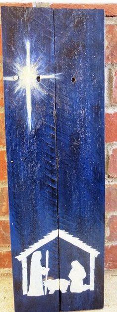 Presépios criativos - presépio de tábuas de madeira                                                                                                                                                                                 Mais