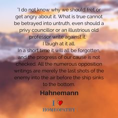 HAHNEMANN's response to the Attack on Homeopathy