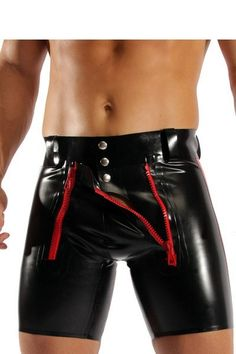 Plus XXL XXXL Size Man Faux Latex Sexy Bodysuit  Leather Teddy Fetish Costumes PU Catsuit men ZIPPER Short Pants