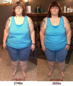 "This is Linda's testimonial update   ""Hi everyone my name is Linda and I am 53 and live in Florida with my wonderful husband. Here is my before and after pictures and some information about my journey so far. If you would like to use it please feel free to do so.  Okay here is an update on my progress since July 19th to now. When I started the 90 day challenge on July 19th I weighed 274lbs and was in a size 3x shirt and today I am at 265lbs and in a 2x shirt. I actually wore a lg/xlg shirt…"
