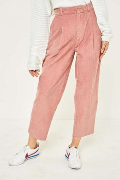 Slide View: 2: BDG Pink Corduroy Cocoon Trousers