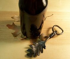 Oak Leaf Bottle Opener  Blacksmith Hand forged by IronOakFarm, $28.50
