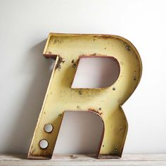 vintage drive-in metal channel letter - R. $125.00, via Etsy. So cliche to love this vintage stuff, but dang, just look at it. Helluva shape.