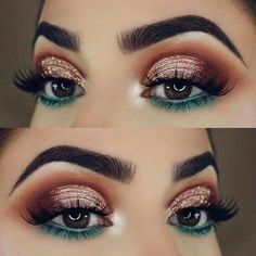 teal blue green under eye makeup lower lid orange red halo sparkly glitter eyeshadow look #Eyemakeup #Eyeshadows #EyeMakeupParty