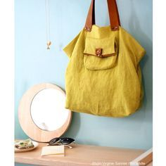 sac cabas en lin RIO yellow by SACADIDIE