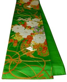 60s vintage obi.  Green silk.  Gold, white and red floral embroidery.