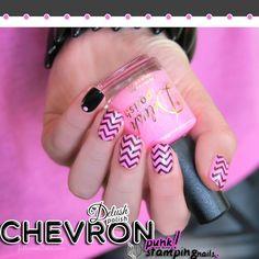 50 Fabulous Nail Art 2015 - Chevron punk! stamping nails with Delush Polish.