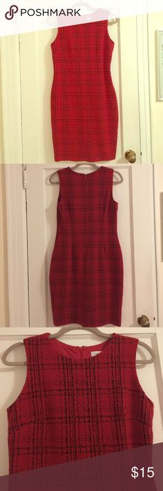 Calvin Klein elegant Red Dress Worn once for a party. Very nicely made in perfect condition. Lining shown in picture. Calvin Klein Dresses Midi