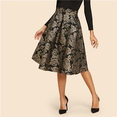 SHEIN Black Vintage Gold Flower Print Mid Waist Flare Knee-Length Skirt  2018 Autumn Elegant Modern Lady Women Skirts 6074ce340d8a