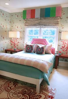 Suzie: Lucy and Company - Fun, colorful girl's bedroom with green butterfly wallpaper, striped ...