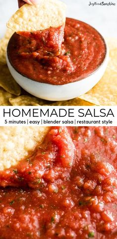 This Homemade Salsa Recipe is ready in 5 minutes and is the best restaurant-style salsa! This easy salsa is made with canned tomatoes and doesn't require any chopping/prep work because it's made in the blender! A perfect appetizer to serve to last-mi Salsa With Canned Tomatoes, Fresh Tomato Salsa, Vitamix Recipes, Cooking Recipes, Healthy Recipes, Tasty Snacks, Yummy Appetizers, Kitchen Recipes, Best Salsa Recipe