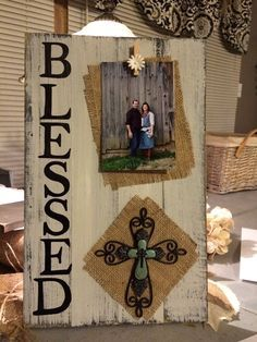BLESSED handpainted burlap pallet board/repurposed barnwood lumber photo frame.