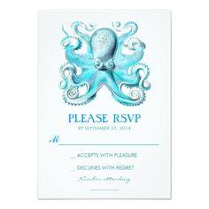 Beach Wedding RSVP nautical beach wedding RSVP card with octopus