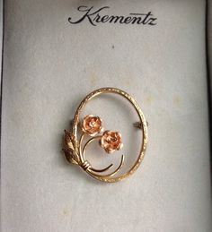 Vintage Krementz  Double Rose Brooch by FancyThatBlingCo on Etsy