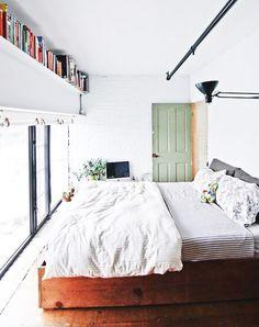 lovely reasons to be lazy. / sfgirlbybay modern loft bedroom with long bookshelf. Decor, Interior, Bedroom Blinds, Home Bedroom, Living Room Blinds, Bedroom Design, Bedroom Loft, Home Decor, House Blinds