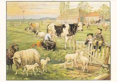 Prachtige tekening van een weide met koeien, schapen, ... Veel details met een paar simpele potloden. Werkelijk schitterend!