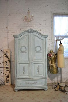 Painted Cottage Chic Shabby Aqua Romantic by paintedcottages, $1395.00