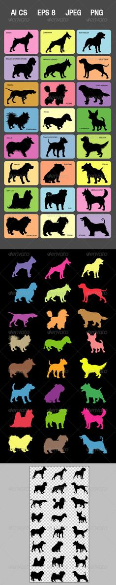 Dog Silhouette Cards #GraphicRiver Dog Silhouettes and its names. ZIP included AI CS, EPS (vector files, you can use any size you want without loss quality, fully editable. Use Adobe Illustrator to edit or change color), JPEG high resolution 3357×6273 px, and PNG high resolution transparent background