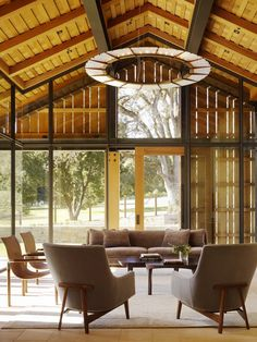 Architecture - 'Glass Barn' Living Area in Contemporary Residence that balances Modern Rustic Wood Walker, Zinc Roof, Room Interior, Interior Design, Architectural Materials, Barn Living, Cozy Living, Country Living, California Living