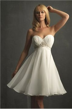 """$135.18, [Short Wedding Dresses] Mature Weddings Dresses Backyard Crinkle Satin Empire Waist """"From Suppliers Bridal Dresses, Mid Back Wedding Gown"""" Ruching Embellished Short Length Organza Strapless Babydoll Ruffles No Back Empire Waist Girly Weddings Gowns Backyard Without Sleeves Sweetheart Neck Simple Bridal."""