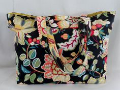 Bright Floral, Extra Large Tote, Beach BAG, Diaper BAG, Work Purse, Knitting BAG by BAGSbyMartha on Etsy