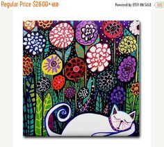 50% Off Today- Cat art Tile Ceramic Coaster Mexican Folk Art Print of painting by Heather Galler