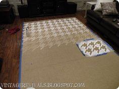 Houndstooth stencil on sisal rug! Stencil Rug, Stencils, Wall Stenciling, Floor Stencil, Sisal, Homemade Rugs, Painted Rug, Painted Stairs, Stenciled Floor