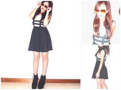 Armani Exchange  White X Crop Top, Suspender Skirt