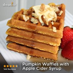 "Pumpkin Waffles with Apple Cider Syrup | ""My 5 yr old son's favorite!! He tells everyone about the ""yummy pumpkin waffles my mom makes for me"".  The apple cider syrup is fantastic!"""