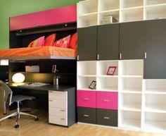 Habitación juvenil con cama abatible, escritorio y gran espacio para almacenar. #muebles #funcionales #niños