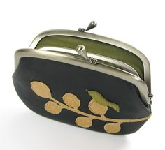 Black Leather Sectional Frame Purse Bird and Branch