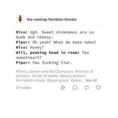 Don't ship it, but still hilarious Percy Jackson Ships, Percy Jackson Quotes, Percy Jackson Books, Percy Jackson Fandom, Rick Riordan Book Series, Rick Riordan Books, Tio Rick, Uncle Rick, Solangelo