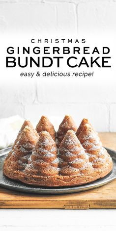 A moist and mild Christmas Gingerbread Cake which is easy to make and looks fabulous baked in a Christmas tree bundt pan. Cake Mix Recipes, Pound Cake Recipes, Cupcake Recipes, Cupcake Cakes, Dessert Recipes, Cupcake Ideas, Brunch Recipes, Baking Recipes, Breakfast Recipes