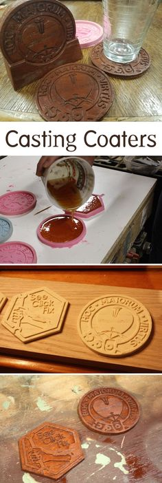 Create a master mold of a coaster then use a silicone mold to be able to produce many copies of that design.