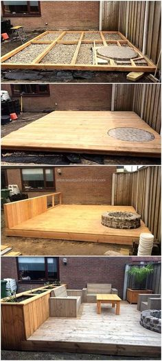 DIY Wood Pallets Made Terrace Project #WoodProjectsDiyYards