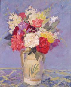 "Carlos Alonso, ""Flores"" óleo 50 x 40 cm."