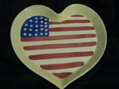 20% off  Vintage Americana Heart Shaped American Flag Porcelain Plate by Giftco, Heart Shaped Plate, American Flag Serving Tray Dish
