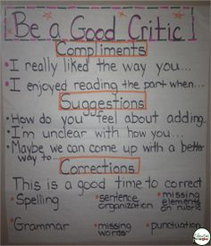 Norms: This anchor chart establishes the norms for peer review in the classroom. By coming up with ideas for how to word constructive criticism, students learn how to provide effective feedback when reviewing another student's work.I think it would be a good thing to have in plain view when completing group work.