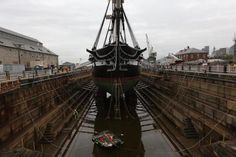The Constitution entered dry dock in Charlestown on Monday night.[5/18/2015]