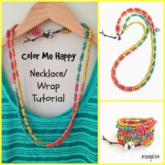 Color Me Happy Necklace/Wrap DIY TUTORIAL by Erin Siegel for Happy Mango Beads #jewelry #necklace #bracelet
