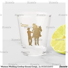 Shop Western Wedding Cowboy Groom Cowgirl On Horse Shot Glass created by RODEODAYS. Cowgirl And Horse, Western Cowboy, Cowboy Groom, Western Kitchen Decor, Business Events, Western Weddings, Drinking Water, Shot Glass, Westerns