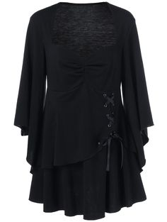 Lace Up Tiered Plus Size Blouse in Black | Sammydress.com