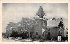 A76/ Blackstone Virginia Va Postcard c40s Presbyterian Church Building Pulaski Virginia, Martinsville Virginia, Newport News Va, Old Churches, Church Building, Travel, Painting, Viajes, Painting Art