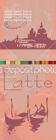 кофе в мире. Венеция, gondoly, силуэт — Векторная картинка #32383885