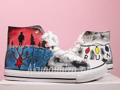 Stranger Things Inspired Hand Painted Shoe / Hand Painted