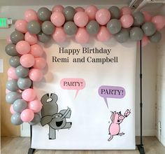Piggie and Elephant backdrop for Piggie and Gerald themed party Elephant Balloon, Elephant Party, Elephant Birthday, Twin Birthday, Birthday Backdrop, Birthday Party Favors, First Birthday Parties, First Birthdays, Piggie And Elephant
