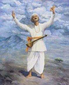 Tukaram was a prominent Varkari Sant and spiritual poet of the Bhakti. He is often referred to with an honorific, Sant Tukaram. Indian Art Paintings, Easy Paintings, Beautiful Paintings, Shivaji Maharaj Painting, Saints Of India, Indian Saints, Formation Yoga, Krishna Leela, Shree Krishna