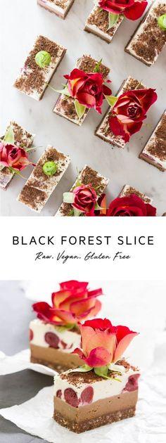 Raw Black Forest Slice – a healthy version of a Black Forest Cake with an espresso twist. Vegan Gluten Free Desserts, Raw Desserts, Vegan Dessert Recipes, Vegan Treats, Vegan Foods, Healthy Desserts, Raw Food Recipes, Healthy Treats, Keto Recipes