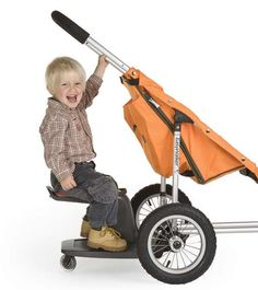 Sit or stand and fold up kidsit, our toddler LOVES this!